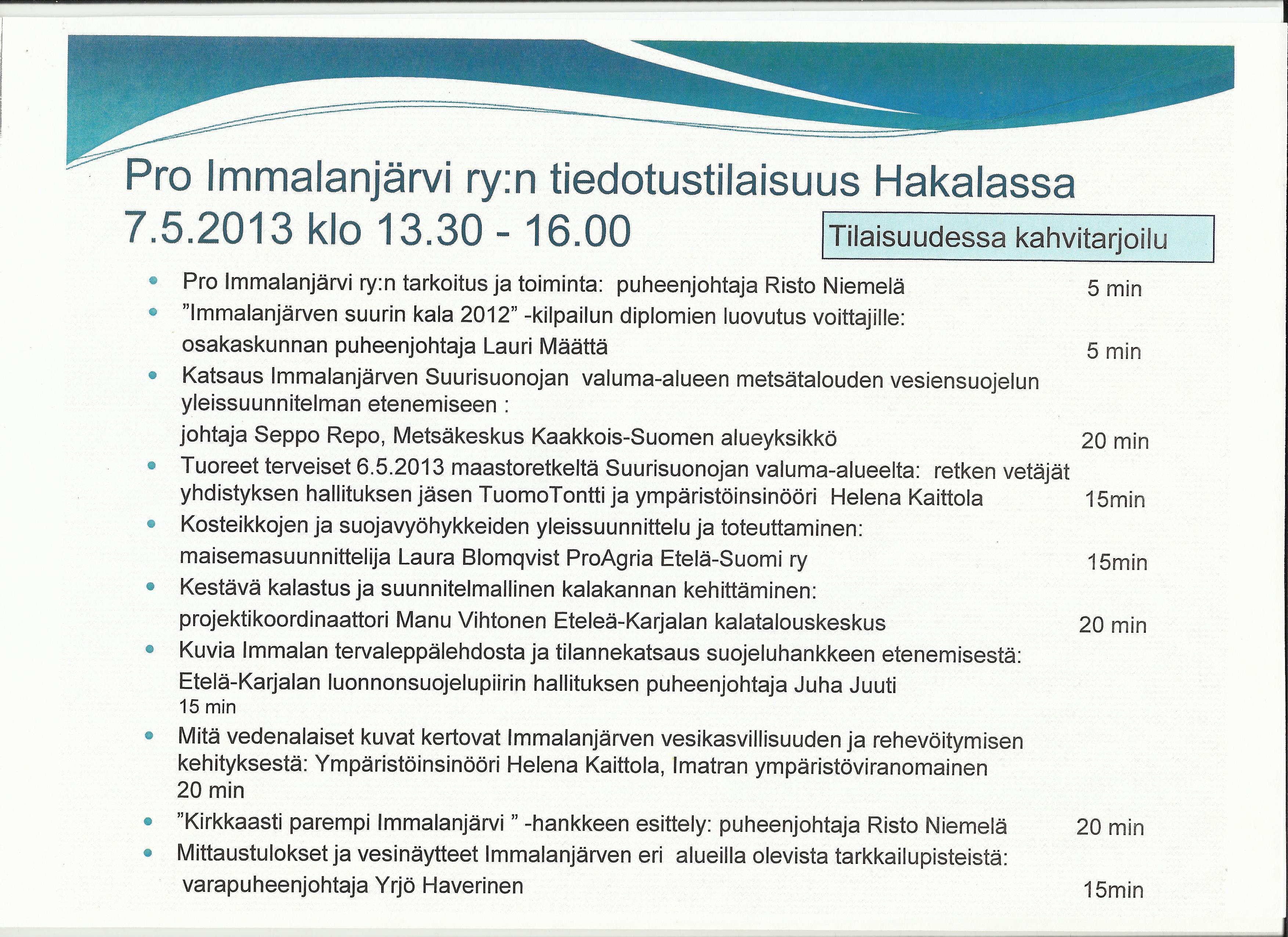 Pro Immalanjärvi ryn tiedotustilaisuus 7.5.2013