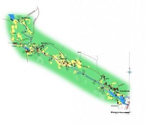 Retkeilyreitin kartta. Numeroidut kohdat löytyvät alla olevasta pdf-esitteestä.