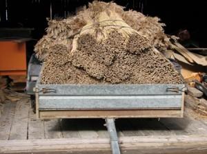 Ruokoniput ajettiin rakennuspaikalle. Samoihin aikoihin saapui täyteen kuormattu ruokorekka Viron Hiidenmaalta. Hanke osti rekkakuormasta 100 nippua hiihtomajan räystäisiin