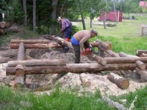 Hirren työstaminen aloitettiin 29.6.2006. Työ eteni hyvällä vauhdilla. Olihan ryhmä hankkinut kokemusta rakentamalla viisi laavua samoilla työmenetelmillä